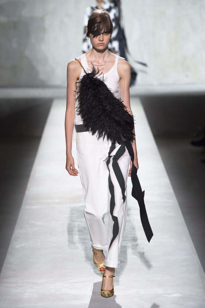 Dries Van Noten x Christian Lacroix – FEATHER TRIMMED TULLE TOP (HKD 6,500)