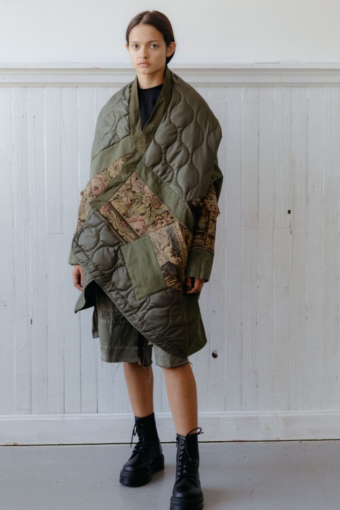 FLIGHT AND FLORAL TAPESTRY COCOON COAT