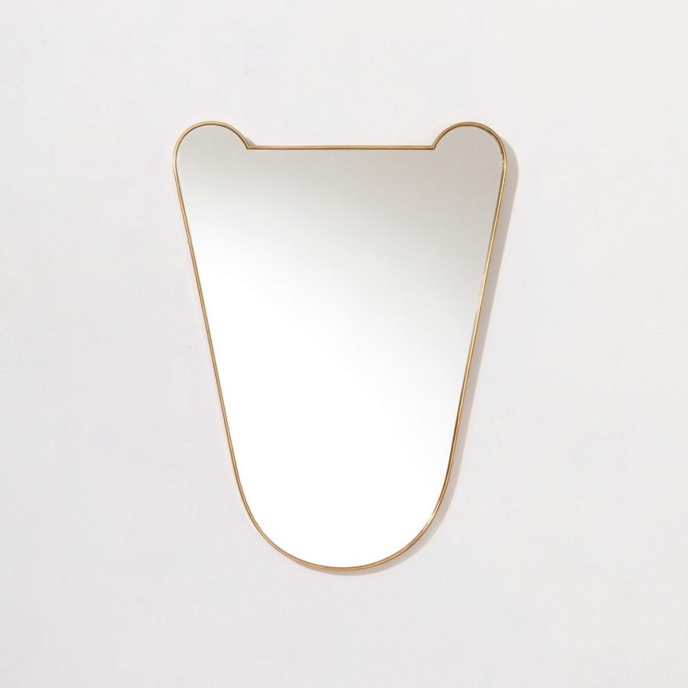 BRASS MOUNTED MIRROR, c.1950'S (HKD 17,000)