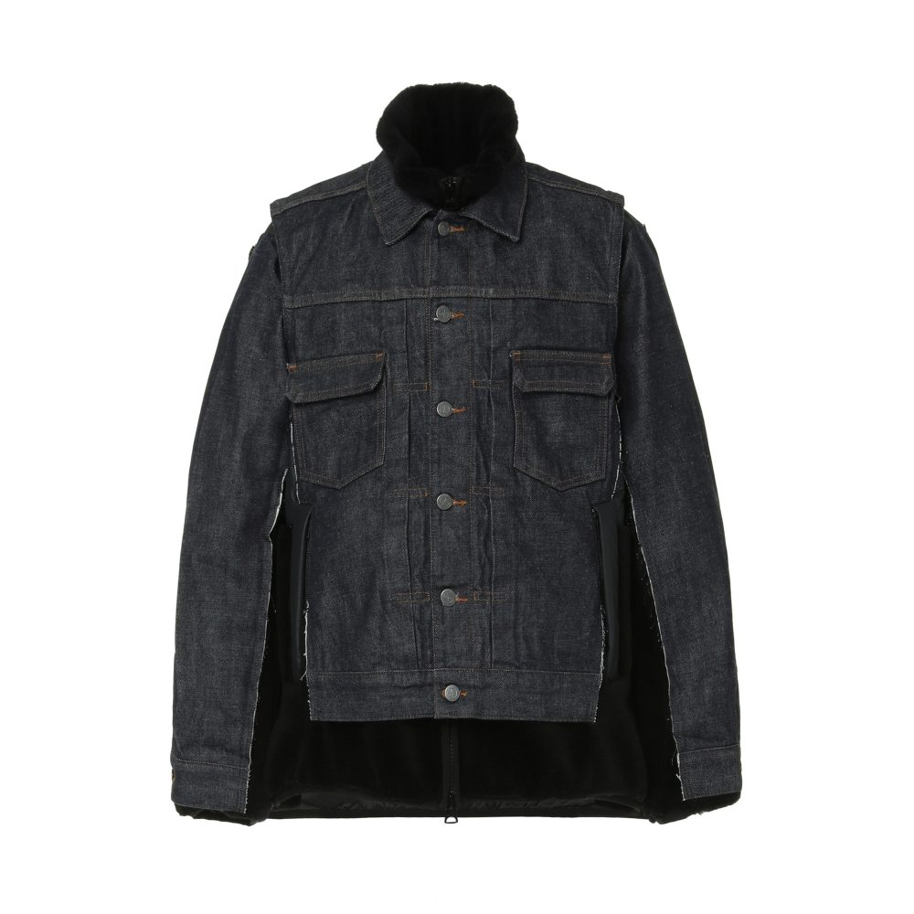 sacai x A.P.C. FAUX SHEARLING AND DENIM JACKET